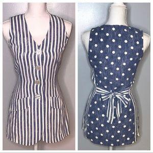 Vintage Rampage Striped Polka Dot Button Down Vest